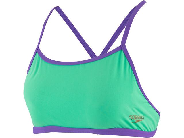 speedo ElectricStripe Allover Haut de maillot de bain Croisé dans le dos Femme, green glow/ultra violet